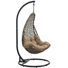 Abate Outdoor Patio Swing Chair With Stand, Black, Rattan 10909