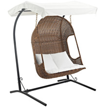 Vantage Outdoor Patio Swing Chair With Stand, White, Rattan 10912