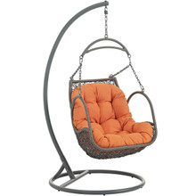 Arbor Outdoor Patio Wood Swing Chair, Orange, Rattan 10913