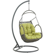 Arbor Outdoor Patio Wood Swing Chair, Green, Rattan 10914