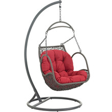 Arbor Outdoor Patio Wood Swing Chair, Red, Rattan 10915