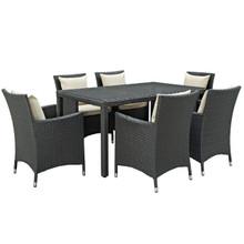 Sojourn Seven PCS Outdoor Patio Sunbrella Dining Set, Beige, Rattan 10966
