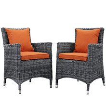 Summon Dining Chair ( Set of Two), Orange, Rattan 10971