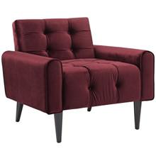 Delve Velvet Armchair, Red, Fabric 11014