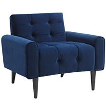 Delve Velvet Armchair, Navy, Fabric 11015
