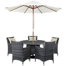 Summon Seven PCS Outdoor Patio Sunbrella Dining Set, Beige, Rattan 11018
