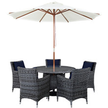 Summon Seven PCS Outdoor Patio Sunbrella Dining Set, Navy, Rattan 11019