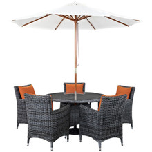 Summon Seven PCS Outdoor Patio Sunbrella Dining Set, Orange, Rattan 11020