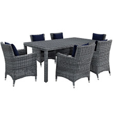 Summon Seven PCS Outdoor Patio Sunbrella Dining Set, Navy, Rattan 11025