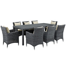 Summon Nine PCS Outdoor Patio Sunbrella Dining Set, Beige, Rattan 11027