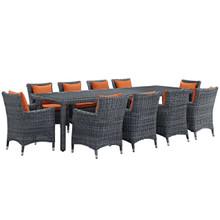 Summon Eleven PCS Outdoor Patio Sunbrella Dining Set, Orange, Rattan 11032
