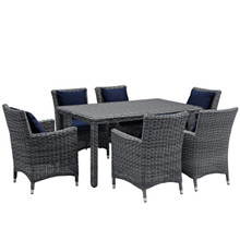 Summon Seven PCS Outdoor Patio Sunbrella Dining Set, Navy, Rattan 11037