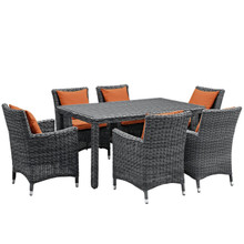 Summon Seven PCS Outdoor Patio Sunbrella Dining Set, Orange, Rattan 11038