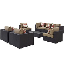 Convene Eight PCS Outdoor Patio Sectional Set, Brown, Rattan 11107