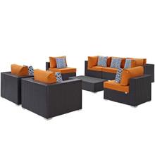 Convene Eight PCS Outdoor Patio Sectional Set, Orange, Rattan 11108