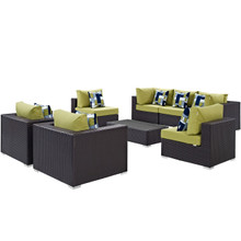 Convene Eight PCS Outdoor Patio Sectional Set, Brown, Rattan 11109