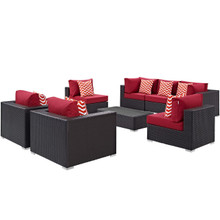 Convene Eight PCS Outdoor Patio Sectional Set, Red, Rattan 11110