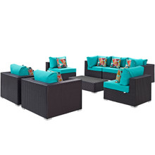 Convene Eight PCS Outdoor Patio Sectional Set, Blue, Rattan 11111
