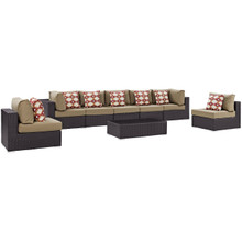 Convene Eight PCS Outdoor Patio Sectional Set, Brown, Rattan 11114