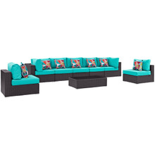 Convene Eight PCS Outdoor Patio Sectional Set, Blue, Rattan 11118