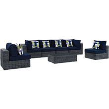 Summon Seven PCS Outdoor Patio Sunbrella Sectional Set, Navy, Rattan 11182