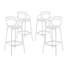 Entangled Bar Stool Set of 4, White, Plastic 11219