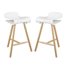 Clip Bar Stool Set of 2, White, Plastic 11224