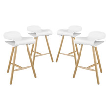 Clip Bar Stool Set of 4, White, Plastic 11225
