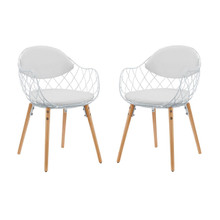 Basket Dining Set Set of 2, White, Metal 11230