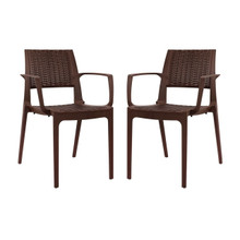 Astute Dining Set Set of 2, Brown, Plastic 11232