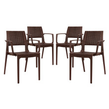 Astute Dining Set Set of 4, Brown, Plastic 11236