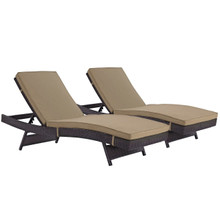 Convene Chaise Outdoor Patio Set of 2, Brown, Rattan 11287