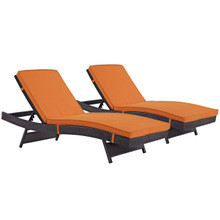 Convene Chaise Outdoor Patio Set of 2, Orange, Rattan 11288