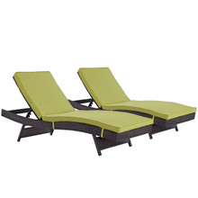 Convene Chaise Outdoor Patio Set of 2, Green, Rattan 11289