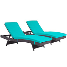 Convene Chaise Outdoor Patio Set of 2, Blue, Rattan 11291