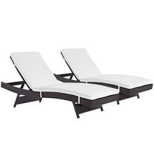 Convene Chaise Outdoor Patio Set of 2, White, Rattan 11292