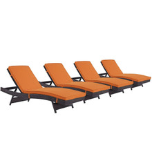 Convene Chaise Outdoor Patio Set of 4, Orange, Rattan 11294