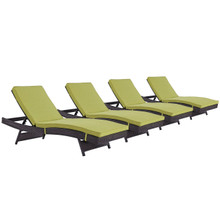 Convene Chaise Outdoor Patio Set of 4, Green, Rattan 11295