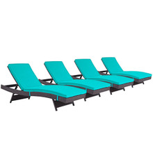 Convene Chaise Outdoor Patio Set of 4, Blue, Rattan 11297