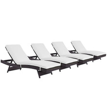 Convene Chaise Outdoor Patio Set of 4, White, Rattan 11298