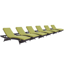 Convene Chaise Outdoor Patio Set of 6, Green, Rattan 11301