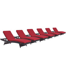 Convene Chaise Outdoor Patio Set of 6, Red, Rattan 11302