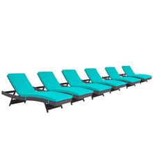 Convene Chaise Outdoor Patio Set of 6, Blue, Rattan 11303