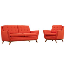 Beguile Living Room Set Upholstered Fabric Set of 2, Red, Fabric 11312