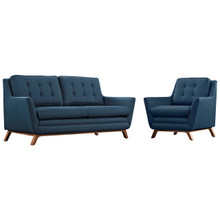 Beguile Living Room Set Upholstered Fabric Set of 2, Navy, Fabric 11313