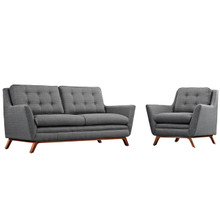 Beguile Living Room Set Upholstered Fabric Set of 2, Grey, Fabric 11314