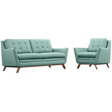 Beguile Living Room Set Upholstered Fabric Set of 2, Blue, Fabric 11316