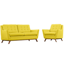 Beguile Living Room Set Upholstered Fabric Set of 2, Yellow, Fabric 11317