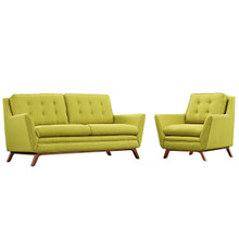 Beguile Living Room Set Upholstered Fabric Set of 2, Green, Fabric 11318