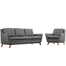 Beguile Living Room Set Upholstered Fabric Set of 2, Grey, Fabric 11321